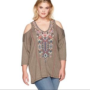 Johnny Was Nindi Cold Shoulder Embroidered Tunic